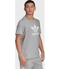 polera adidas originals trefoil t-shirt gris - calce regular