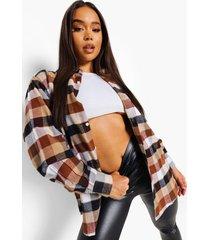 oversized geborstelde geruite blouse, brown