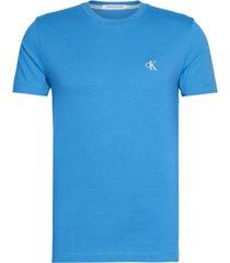 camiseta slim de algodón orgánico azul calvin klein