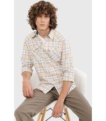 camisa beige-blanco-negro levis