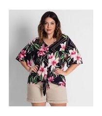 camisa plus size feminina estampada secret glam preto