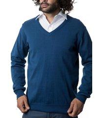 sweater clásico cuello v azul kotting