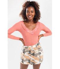 monroe lace trim bodysuit - rose