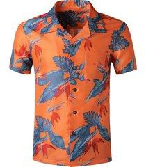 tropical leaf printed pocket beach shirt