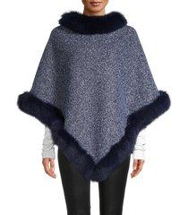 la fiorentina women's tweed fox fur-trimmed poncho - navy