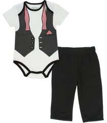 pure one boy's 2-piece bow tie, vest & handkerchief graphic print jogger outfit