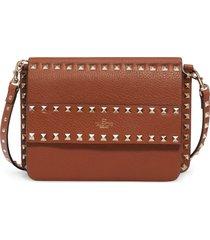 valentino garavani small rockstud calfskin leather shoulder bag - brown