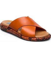 plateau cross mix shoes summer shoes flat sandals orange apair