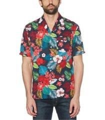 original penguin men's floral print short sleeve button-down shirt