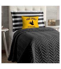 cobre leito apollo para cama de solteiro 4 peças - amarelo