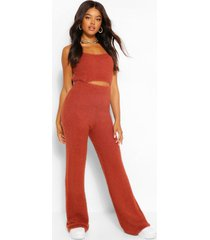 premium pluizige crop top en broek set, mahonie