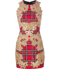 balmain sequin-embellished plaid cocktail dress - red