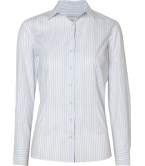 camisa dudalina manga longa tricoline fio tinto gola composê feminina (listrado, 50)