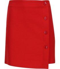 falda corta con botones color rojo, talla 8