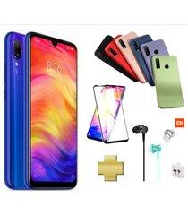 celular xiaomi redmi note 7 128gb azul + protector pantalla + audífonos + silicone case