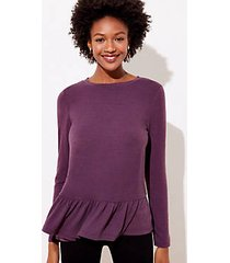 loft textured long sleeve peplum tee