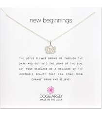 dogeared new beginnings rising lotus necklace silver stone