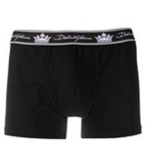dolce & gabbana cueca boxer com estampa de logo de coroa - preto