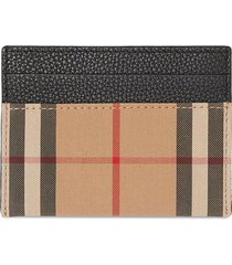 burberry vintage check leather card case - brown