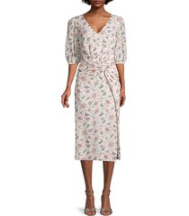 rebecca taylor women's isabella puff-sleeve dress - creamsicle - size s