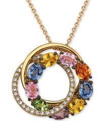 "effy multi-sapphire (2-1/10 ct. t.w.) & diamond (1/8 ct. t.w.) interlocking circle 16"" pendant necklace in 14k gold"