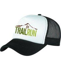 boné trucker corrida estampado snapback preto e branco - trail run preto - kanui