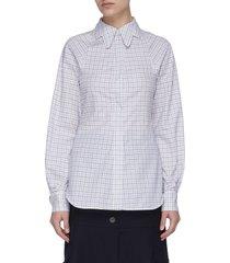 butterfly collar check shirt
