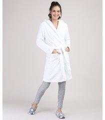 roupão de plush feminino texturizado de poá com capuz e bolsos off white