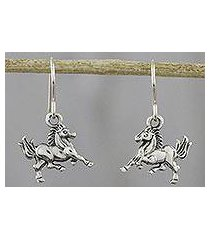sterling silver dangle earrings, 'galloping stallions' (thailand)
