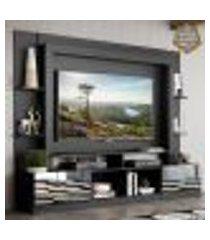 """rack c/ painel e suporte tv 65"""" portas c/ espelho oslo multimóveis preto"""