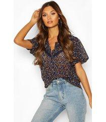 blouse met kanten afwerking en bloemen, marineblauw