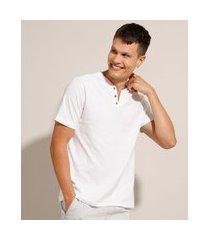 camiseta básica manga curta gola portuguesa branca