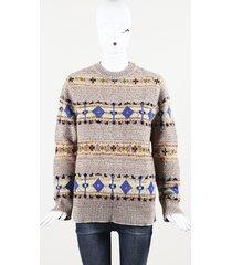 "victoria beckham wool knit ""fairisle"" sweater pink/multicolor sz: xs"