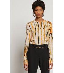proenza schouler tie dye long sleeve t-shirt marigold/pink/black/white l