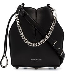 alexander mcqueen black drawstring fastened structured bucket bag