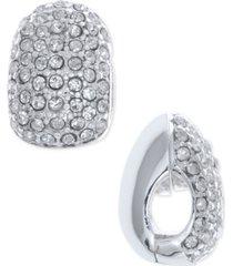 anne klein silver-tone black crystal huggie e-z comfort clip-on earrings