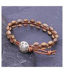 jasper and leather beaded bracelet, 'pa sak earth' (thailand)