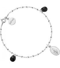 bransoletka srebrna z medalikiem i kryształami