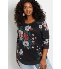 maurices plus size womens black floral round hem pullover