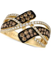 le vian chocolatier diamond crossover statement ring (7/8 ct. t.w.) in 14k gold