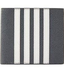 four bar stripe pebble grain billfold leather wallet