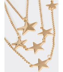motivi collana multifilo con stelle donna giallo