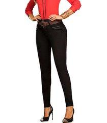 jeans colombiano con control de abdomen negro cu bartolomeo