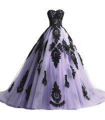 kivary long ball gown black lace gothic corset formal prom evening dresses laven