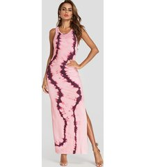 tie dye scoop neck slit hem maxi dress