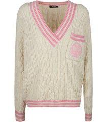 balmain stripe trimmed woven v-neck sweater