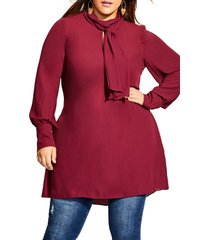 plus size women's city chic tie neck tunic dress