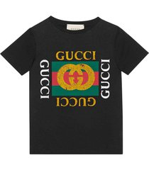 gucci black t-shirt with multicolor frontal press