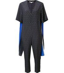 stella mccartney striped cape monogram jumpsuit - blue