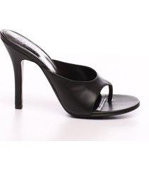 nappa leather black thong look book mule